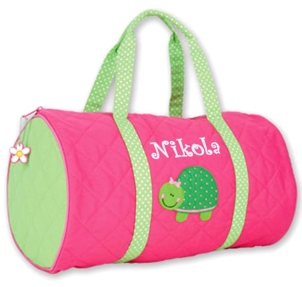 Stephen Joseph Quilted Duffel Duffle Bag Personalized Turtle