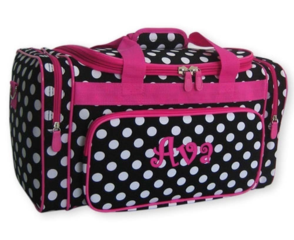 personalized duffle bag black white polka dots