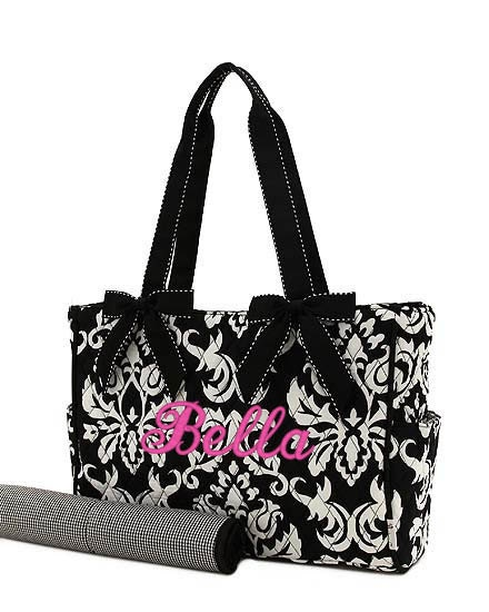 diaper bag personalized black white damask quilted by parsik93. Black Bedroom Furniture Sets. Home Design Ideas