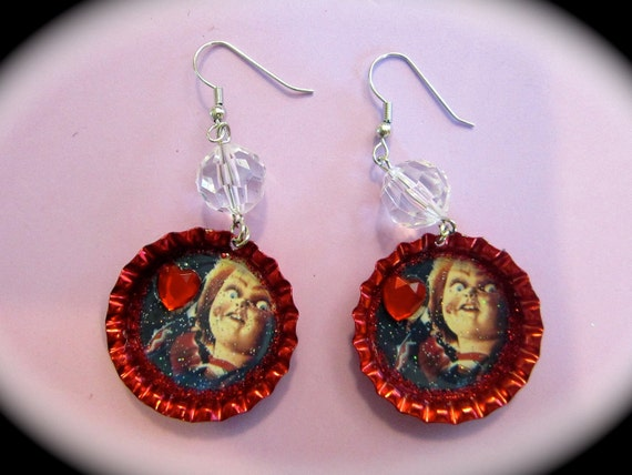 Chucky Child's Play Red Bottle Cap Earrings