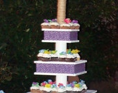 DIY Small Modern Wooden Cupcake Stand with Fabric for Wedding Baby Shower Party Decoration PDF Digital Download Tutorial 3 tier stand