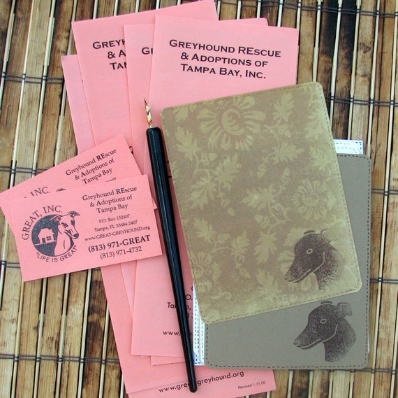 PaniEva's greyhound card stationery flat notecards set hand-stamped greyhound head