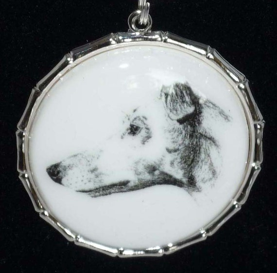 SueBero Altered Vintage Art Greyhound Dog Pendant w Black Leather Necklace