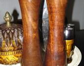 Vintage wooden 1970s salt shaker & pepper grinder