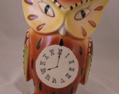Vintage ceramic owl  wall pocket or wall vase