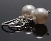 5 pairs of Pearl Earrings Bridal Jewelry Simple Drop Earrings Sterling Silver . White Pearl Earrings Swarovski Round Pearls June Birthstone