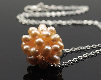 Peach Pearl Necklace, Peach Pearl Cluster Ball Necklace, Sterling Silver, Freshwater Pearl Ball