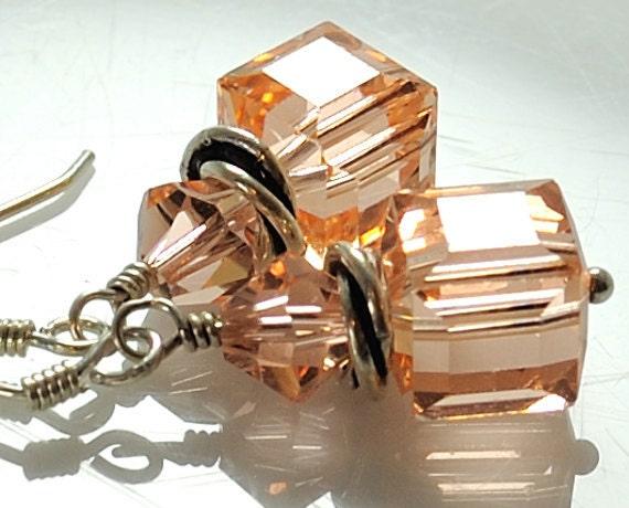 Crystal Earrings Geometric Earrings Light Peach Swarovski Crystal Earrings . Dangle Earrings Cube Geometry Sterling Silver