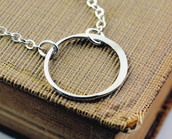 Layer Necklace, Sterling Silver Circle Necklace, Karma Necklace, Eternity Necklace, Sister Necklace