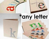CLEARANCE Monogram Eco Notecard Set, vintage fabric serif, letter of your choice