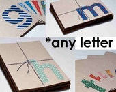 CLEARANCE Monogram Eco Notecard Set, vintage fabric sans serif, letter of your choice