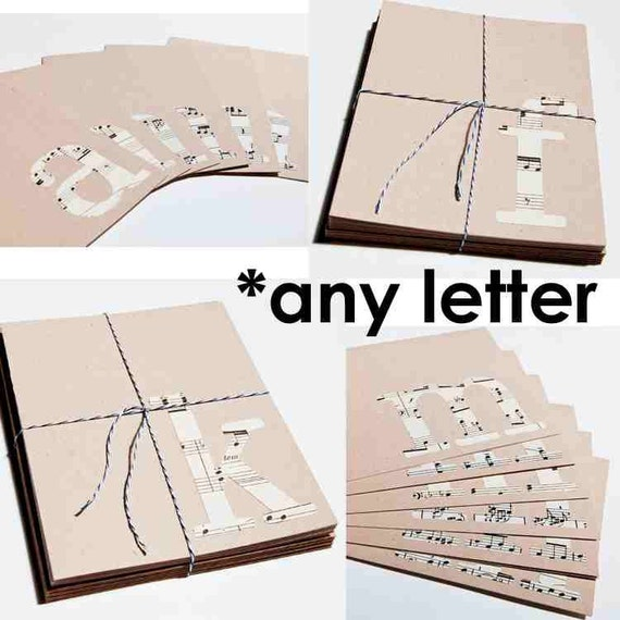 CLEARANCE Monogram Eco Notecard Set, vintage sheet music serif, letter of your choice