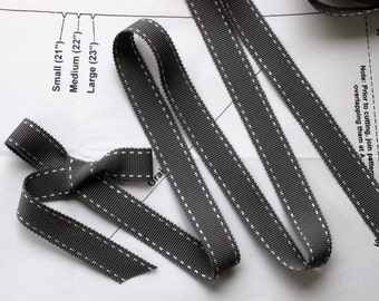 2Y Gray And White Stitch Grosgrain Ribbon