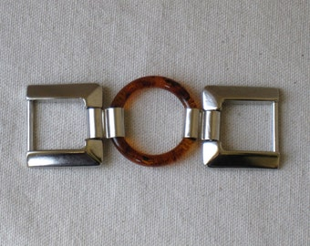 1 Vintage Silver And Tortoise Shell Buckle Slide