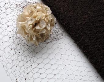 1Y Vintage Millinery Veiling 1940s Silk Choclate Brown