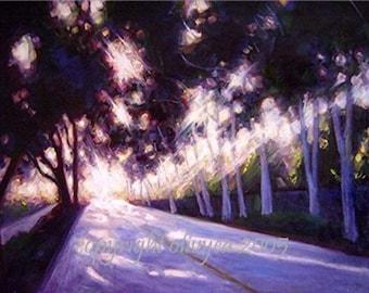 Oil Painting, Landscape, Photo Realism, Original, Sun light through trees, Large, 22 x 28... 27 x 33 Framed