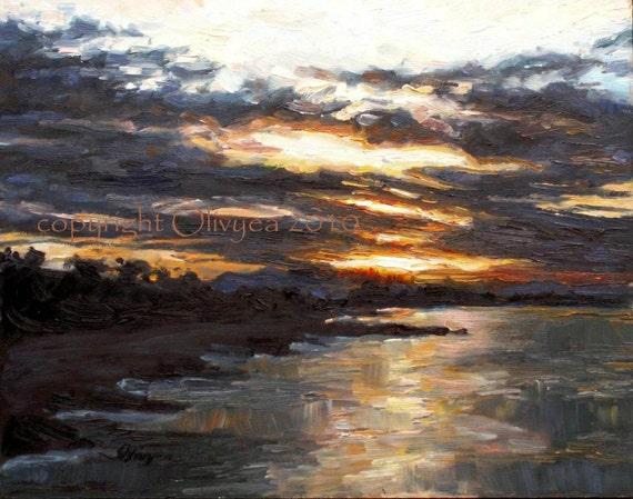 Impressionistic painting of the California coastline...Sunrise from Ventura Pier - Original Oil Painting 11 x 14