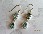Blue Topaz and Sterling Earrings, Faceted, Drop, Gemstone