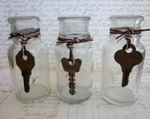 Three Old Vintage Apothecary Bottles with Skeleton Keys