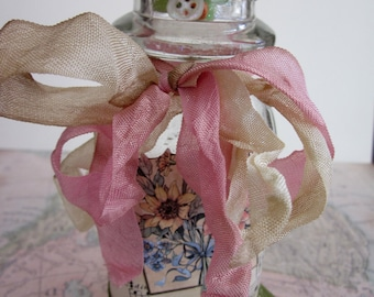 Altered Bottle, Decorated Vintage Cream Bottle, Mixed Media