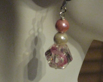 Magnetic Earrings - Pink and White