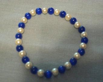 Magnetic Bracelet - Royal Blue and White 6mm