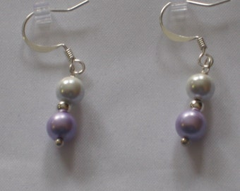 Magnetic Earrings - Lavender and White