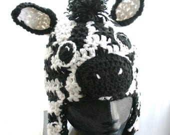 Zebra or Horse Hat with Ear Flaps