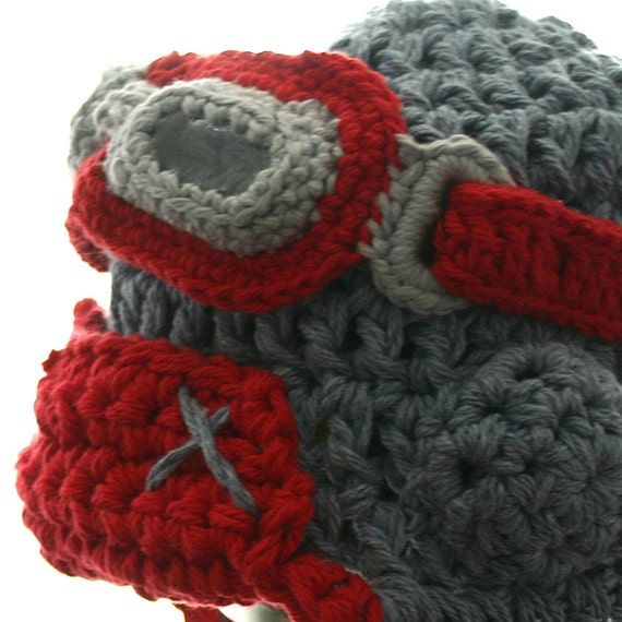 Red Aviator Hat Set with Goggles - Cotton Crochet