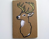 Deer Moleskine Journal Pocket Cahier Kraft Golden Antlers Plain