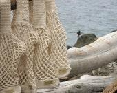 Eco Friendly Beach Bag  Bread and Butter Bag  Handmade Crochet Reusable Market Tote