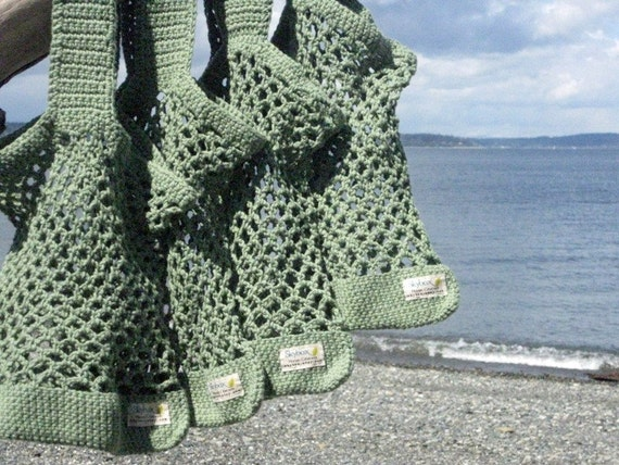 Crochet Bag  Bread and Butter Bag in Green  Handmade Crochet Reusable Market Tote