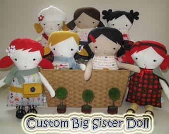CUSTOM Big Sister Sprinkles Rag Doll - Pick colors, style, and personalize it