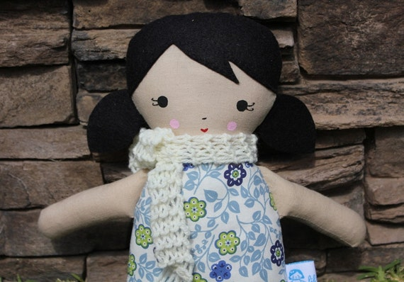 Lil Sister Sprinkles Black Hair Rag Doll (blue flower print)