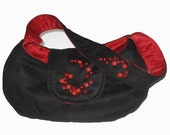 Crescent Bag - Black Suede with Red Brocade and Button Feature - RESERVED
