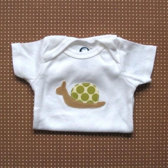 Snail fabric applique onesie