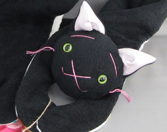 Animal Scarf, Short or Extra Long Black Kitty for kids or adults, stuffed animal scarf