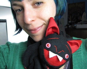 Black Bat Stuffed Animal Scarf, Short or Extra Long, bat wings and fangs black and red
