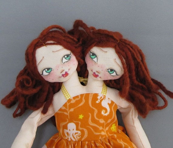 Two Headed Floppy Doll, Redheads in Seahorse Octopus Print Dress