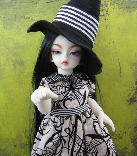 Yosd, Little Fee, Soom Halloween Witch set, Black and White Stripes and Webs