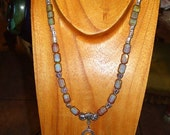Mystical Picasso Glass Necklace with Silvertone Dangles and Spacers