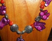 Purple and Orange Carnival of Pearls Necklace