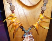 STATEMENT NECKLACE Large Shell Focal LAYAWAY AVAILABLE