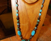 HANDCRAFTED Turquoise Slice\/Tiger Eye\/Abalone Shell\/Copper Blue Gemstone Necklace Long Chunky