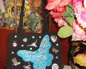 OOAK Embellished Cowgirl Purse With Blue Sequin Butterfly Applique and Western Charms