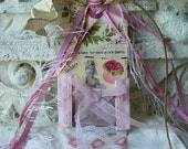SHABBY PINK CORSET AND CUPCAKE ART TAG RESERVE