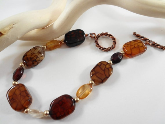 Hessonte Garnet, Brown Crackle Agate, and Sand blasted 14kt Gold Filled beaded 7 inch Bracelet with Copper Toggle Clasp