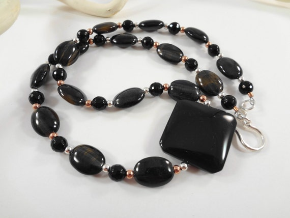 18 inch Rainbow Obsidian, Blue Tigers Eye, Black Onyx, Copper and Sterling Silver Beaded Necklace