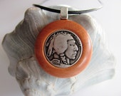 Cherry Wood and Indian Head Nickle Button Pendant