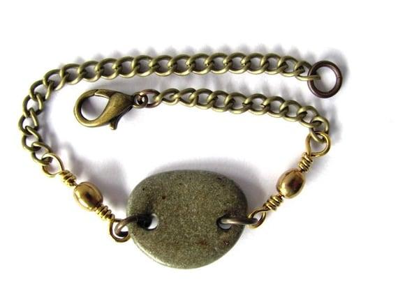 Beach Stone Bracelet Brass Chain Eco Friendly Natural River Rock Jewelry By Hendywood